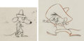 Animation Art:Production Drawing, Mexican Boarders Speedy Gonzales and Slowpoke Rodriguez Animation Drawings (Warner Brothers, 1962)....