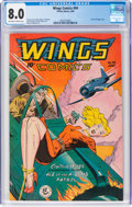 Golden Age (1938-1955):War, Wings Comics #94 (Fiction House, 1948) CGC VF 8.0 Off-white to white pages....