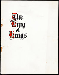 "The King of Kings (Pathé, 1927). Fine/Very Fine. Program (18 Pages, 8.75"" X 11""). Historical Drama"
