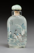 Carvings, A Chinese Inside-Painted Glass Snuff Bottle Signed Bi Rongjiu, . late Qing Dynasty. 2-3/4 x 1-1/4 x 1-5/8 inches (7.0 x 3.2 ...