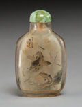 Carvings, A Chinese Inside-Painted Rock Crystal Snuff Bottle Attributed to Zhou Leyuan, early 20th century. 2-5/8 x 1-5/8 x 1-3/8 inch...