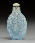 Glass:Chinese, A Chinese Pale Blue Overlay Snowflake Glass Snuff Bottle, . late Qing Dynasty. 3-1/8 inches (7.9 cm). PROPERTY FROM A SOUT...