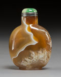 Carvings, A Chinese Banded Agate Snuff Bottle, late Qing Dynasty. 2-1/2 inches (6.4 cm). PROPERTY FROM A SOUTHERN CALIFORNIA COLLECT...