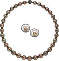 Estate Jewelry:Suites, South Sea Cultured Pearl, Colored Diamond, Diamond, Gold Jewelry Suite. ... (Total: 2 Items)