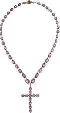 Estate Jewelry:Necklaces, Victorian Amethyst, Gold Necklace  The necklac...
