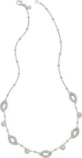 Estate Jewelry:Necklaces, Diamond, White Gold Necklace. ...