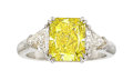 Estate Jewelry:Rings, Fancy Vivid Yellow Diamond, Diamond, Platinum Ring. ...