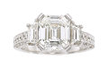 Estate Jewelry:Rings, Diamond, Platinum Ring The ring features an em...