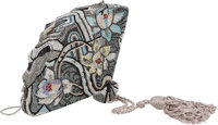 """Judith Leiber Silver Floral Crystal Fan Minaudiere Condition: 2 7"""" Width x 5"""" Height x 1.5"""" Depth"""