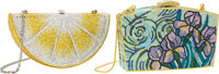 Judith Leiber Set of Two: Lemon & Iris Crystal Minaudieres Condition: 1 See Extended Condition Re