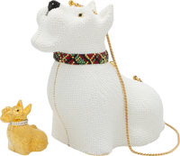 Judith Leiber Set of Two: White Crystal Scottish Terrier Minaudiere & Gold Pillbox Condition: 2 S