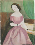 "Books:Original Art, Marie Laurencin. Watercolor Painting from Camille Signed. ""Marie Laurencin."" ..."