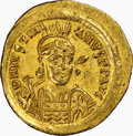 Ancients:Byzantine, Ancients: Justinian I the Great (AD 527-565). AV solidus (21mm, 4.48 gm, 6h). NGC AU 5/5 - 4/5....