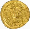 Ancients:Byzantine, Ancients: Justinian I the Great (AD 527-565). AV solidus (21mm, 4.33 gm, 6h). NGC AU 5/5 - 3/5, clipped, scuff. ...