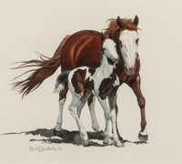 Bev Doolittle (American, b. 1947) Pinto Mare and Foal Watercolor on paper 12 x 13-1/2 inches (30