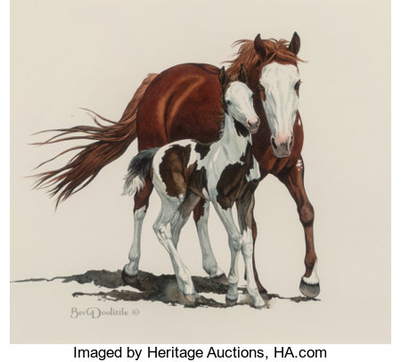 Bev Doolittle (American, b. 1947) Pinto Mare and Foal Watercolor on paper 12 x 13-1/2 inches (30.5 x 34.3 cm) (sight)...