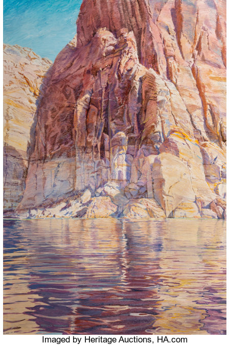 Merrill Dean Mahaffey (American, b. 1937) An Afternoon of Vertical Reflecting Acrylic on canvas 54 x 36 inches (137.2...
