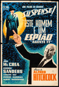 """Movie Posters:Hitchcock, Foreign Correspondent (C.C.F.B., R-1950s). Folded, Fine+. Brazilian One Sheet (28.5"""" X 42""""). Hitchcock.. ..."""