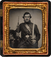 Sixth Plate Tintype of a Union Soldier with Rifle and Large Knife