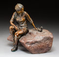 Sculpture, Glenna Goodacre (American, b. 1939). A Meeting of Friends. Bronze with brown patina. 10-1/2 inches (26.7 cm) high. Ed. 1...