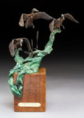 Sculpture, Mike Capser (American, b. 1952). Wings of Autumn, 1981. Bronze with brown and green patina. 16 inches (40.6 cm) high wit...
