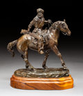 Sculpture, Bob Scriver (American, 1914-1999). Mounted Trapper, 1975. Bronze with brown patina. 10-3/4 inches (27.3 cm) high on a 2 ...