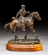 Bob Scriver (American, 1914-1999) Mounted Trapper, 1975 Bronze with brown patina 10-3/4 inches (2