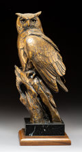 Sculpture, Kent Ullberg (American, b. 1945). Owl. Bronze with brown patina. 17 inches (43.2 cm) high on a 3 inches (7.6 cm) high wo...
