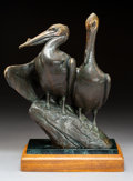 Sculpture, Kent Ullberg (American, b. 1945). Pelicans. Bronze with brown patina. 14-1/2 inches (36.8 cm) high on a x 2-1/2 inches (...