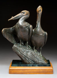 Kent Ullberg (American, b. 1945) Pelicans Bronze with brown patina 14-1/2 inches (36.8 cm) high o