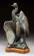 Sculpture, Kent Ullberg (American, b. 1945). Great Blue Herons. Bronze with brown patina. 15 inches (38.1 cm) high on a 1-1/2 inche...
