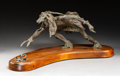 Fine Art - Sculpture, American, Hollis Williford (American, 1940-2007). Warrior and Rattlesnake. Bronze with verdigris. 10 inches (25.4 cm) high on a 2 ...