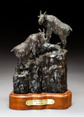 Sculpture, Mike Capser (American, b. 1952). Where Few Men Tread, 1977. Bronze with brown patina. 10 inches (25.4 cm) high on a 2 in...