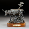 Sculpture, Mike Capser (American, b. 1952). Headin' Home, 1981. Bronze with brown patina. 10 inches (25.4 cm) high on a 1-3/4 inche...