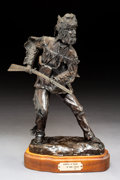 Sculpture, Mike Capser (American, b. 1952). Hawkins at Ready, 1979. Bronze with brown patina. 14-1/2 inches (36.8 cm) high on a 1-3...
