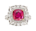 Estate Jewelry:Rings, Burma Ruby, Diamond, White Gold Ring The ring ...