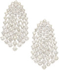 Estate Jewelry:Earrings, Diamond, White Gold Earrings, Assil . ...