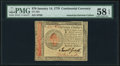 Colonial Notes:Continental Congress Issues, Continental Currency January 14, 1779 $70 PMG Choice About Unc 58 EPQ.. ...