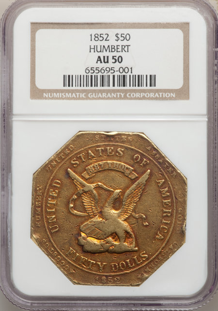 1852 Assay Office Fifty Dollar, 887 Thous. 50 NGC