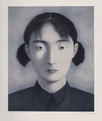 Zhang Xiaogang (b. 1958) Sister, from Big Family, 2006 Lithograph in colors on Arches pap