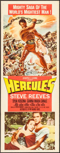 """Movie Posters:Action, Hercules (Lux Film, 1959). Fine- on Board. Insert (14"""" X 36""""). Action.. ..."""