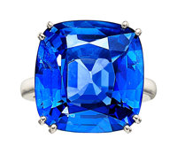 Ceylon Sapphire, Platinum Ring, Dubail Paris, French