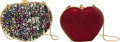 Luxury Accessories:Bags, Judith Leiber Set of Two: Multicolor Floral & Red Crystal Heart Minaudieres. Condition: 1. See Extended Condition Repo... (Total: 2 )