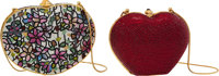 Judith Leiber Set of Two: Multicolor Floral & Red Crystal Heart Minaudieres Condition: 1 See Exte
