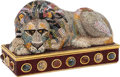 "Luxury Accessories:Bags, Judith Leiber Crystal Lion Minaudiere. Condition: 2. 6"" Width x 4"" Height x 3"" Depth. ..."