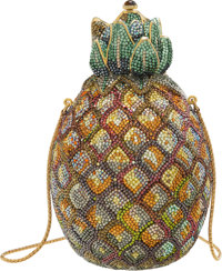 """Judith Leiber Yellow Crystal Pineapple Minaudiere Condition: 1 4"""" Width x 6"""" Height x 4"""" Depth"""