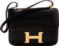 "Luxury Accessories:Bags, Hermès 24cm Black Calf Box Constance Bag with Gold Hardware. Y Circle, 1995. Condition: 3. 9"" Width x 6"" Height x ..."