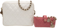 Chanel Set of Two: White Lizard Bag & Pink Micro Crossbody Bag Condition: 3 See Extended Conditio