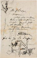 "Books:Manuscripts, Paul Cezanne. Autograph Letter Signed With Sketches. ALS. ""Paul Cezanne."" One page in French, with two sketches, 5.5"" x ..."