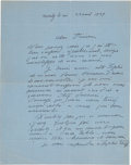 "Books:Manuscripts, Aristide Maillol. One Autograph Letter Signed. ""Maillol.""..."